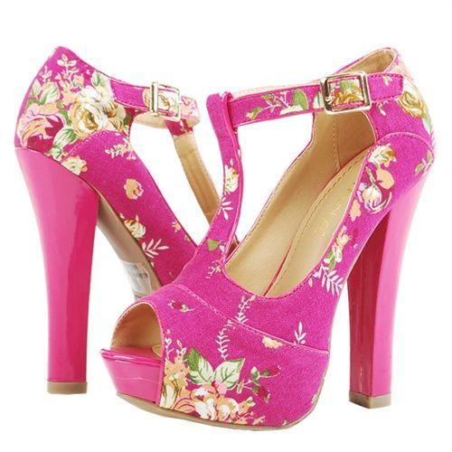 Floral T-Strap Peep Toe Platform Heels.