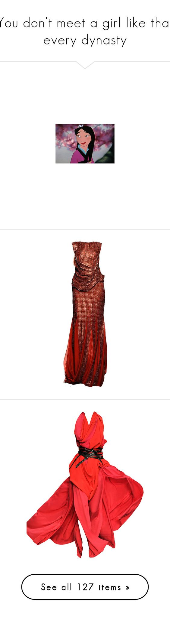 """""""You don't meet a girl like that every dynasty"""" by camimany ❤ liked on Polyvore featuring disney, mulan, disney pictures, dresses, gowns, vestidos, long dresses, red evening dresses, red gown and long red evening dress"""