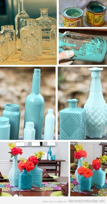 Botellas de cristal pintadas, decorar boda, DIY paso a paso
