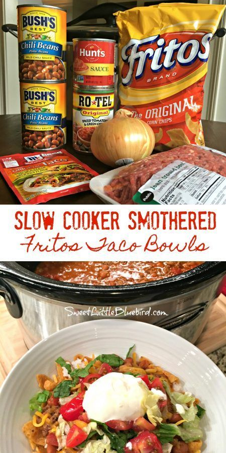 Slow Cooker Smothered Fritos Taco Bowls by Sweet Little Bluebird - WEEKEND POTLUCK