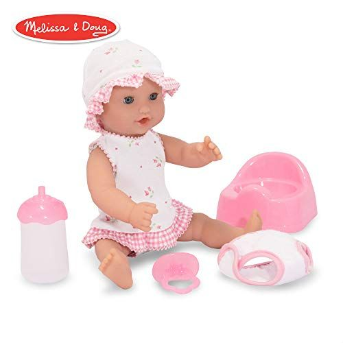 Melissa Doug Mine To Love Annie 12 Inch Drink Wet Doll Pretend Play Poseable Baby Doll Charming Clothing Accessories Baby Dolls Doll Family Melissa And Doug