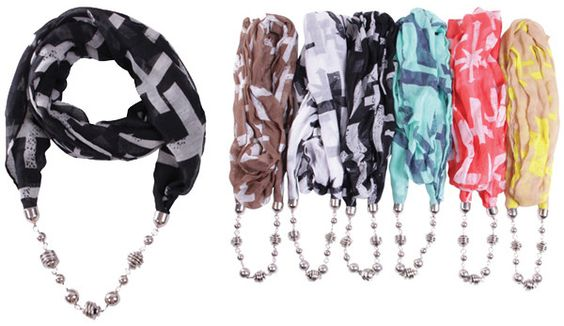 fashion jewelry scarves w/ necklace Case of 72
