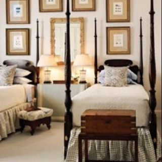 Beautiful beds and antique box on stand...my fav