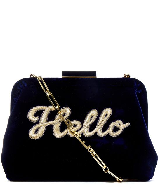Edie Parker Navy Lauren Hello Velvet Clutch Bag