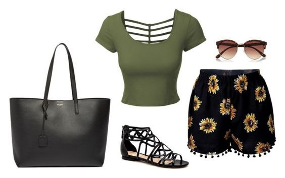 """""""*"""" by littledisastter ❤ liked on Polyvore featuring LE3NO, Yves Saint Laurent and River Island"""