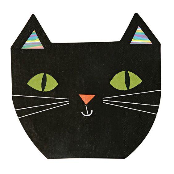 16 serviettes jetables chat noir