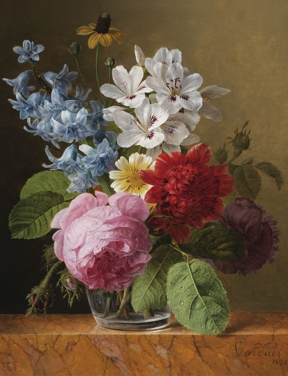JAN FRANS VAN DAEL ; FLOWER BOUQUET IN A GLASS ; SIGNED AND DATED LOWER RIGHT VAN DAEL / 1825 ; OIL ON PANEL