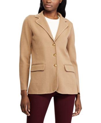 Lauren Ralph Lauren Petite Sweater Knit Cotton Blazer Lipstick Red Blazer Jackets For Women Knit Blazer Cotton Blazer