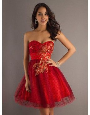 A-line dark red sweetheart zippered short prom dress with embroidery  US$145.00