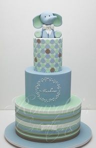 Another cute cake for a boy baby shower or 1st birthday - loving the little elephant on top