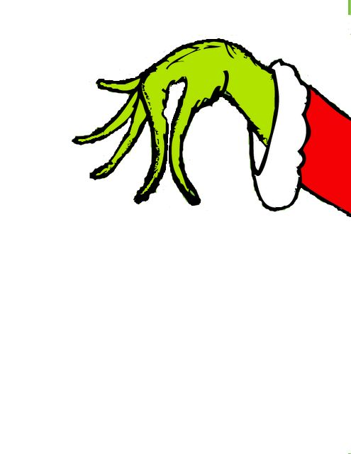 make a grinch hand holding mistletoe or ornament over balcony
