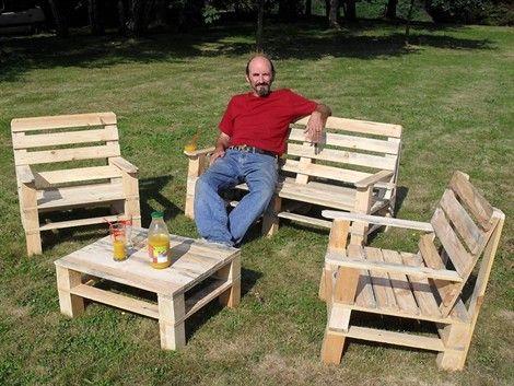 Salon ext rieure en bois de palette palettes idees - Salon de jardin en bois de recuperation ...