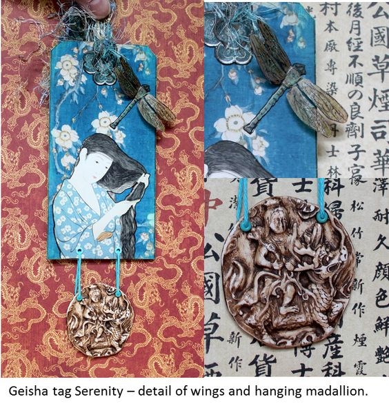 Tag for swap. Theme - Geisha. Requirements - use an element relating to tea.  My dragonfly wings are made of stained teabag papers that I glazed to give a sheen and some stability.  The medallion hanging below is of clay and done in the carved ivory style, and antiqued to give it age.