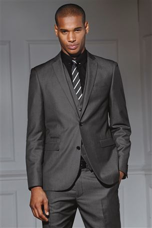 Grey Regular Fit Shiny Suit: Jacket - Men's work fashion. | Men's