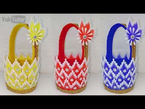 182 Ide Kreatif How To Make Baskets From Cotton Buds Kreasi