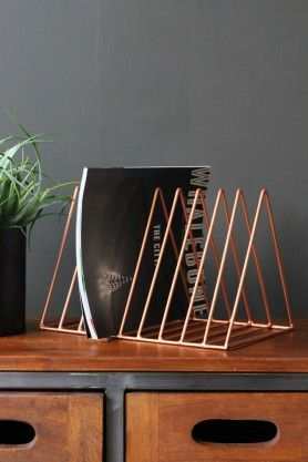 wire triangle magazine rack copper metallics. Black Bedroom Furniture Sets. Home Design Ideas