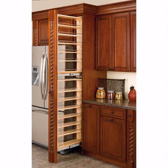 Tall Filler Pullout Organizers - 45 inch height on the left, 39 inch height on the right... love the idea of filling out space around fridge with pantry