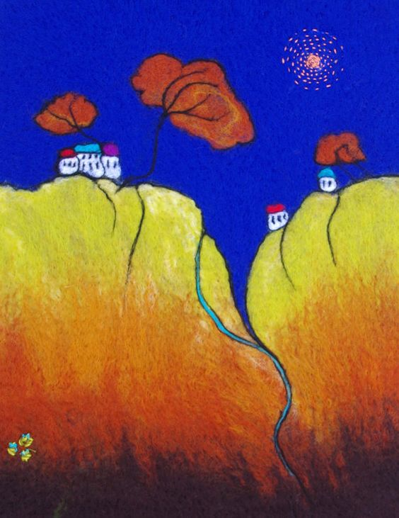 Large Felt Painting. Fibre Art. Felted Wall Hanging. by LJSoar