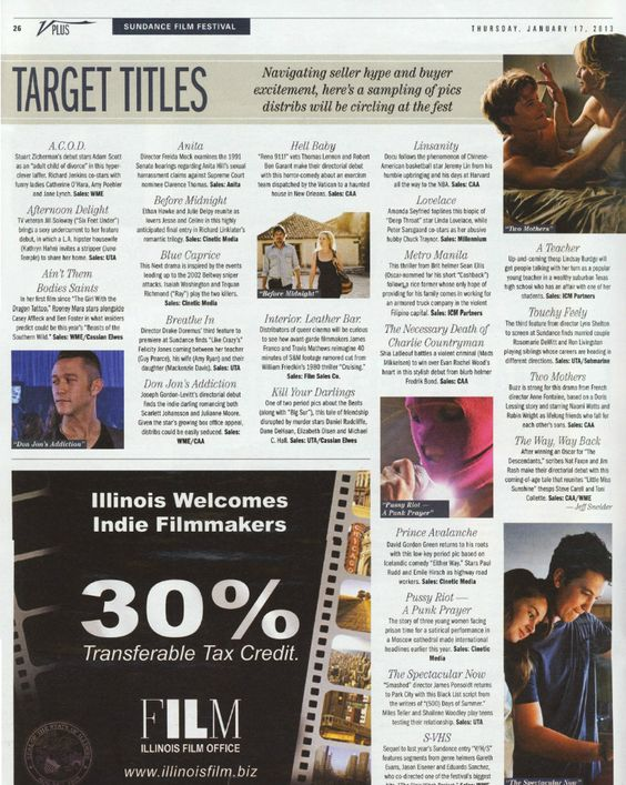 "VARIETY MAGAZINE – January 17, 2013 – ""Target Titles."" features Lovelace (2013) at Sundance Film Festival 2013, by Variety. #Lovelace #Lovelacemovie"