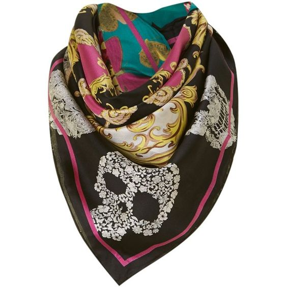 Codello Heraldic, skull and butterfly silk square scarf found on Polyvore