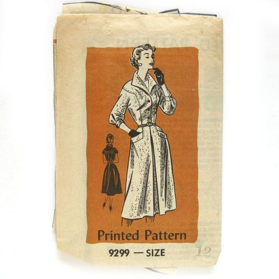 1950s Vintage Sewing Pattern  Woman's Dress DRESS by SelvedgeShop