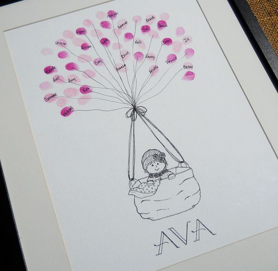 Baby shower thumb print guest book that turns into art for the baby's room -- LOVE.