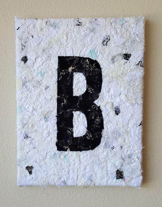"Sans Serif Monogram Bold, fabric collage wall hanging 9""x12"""