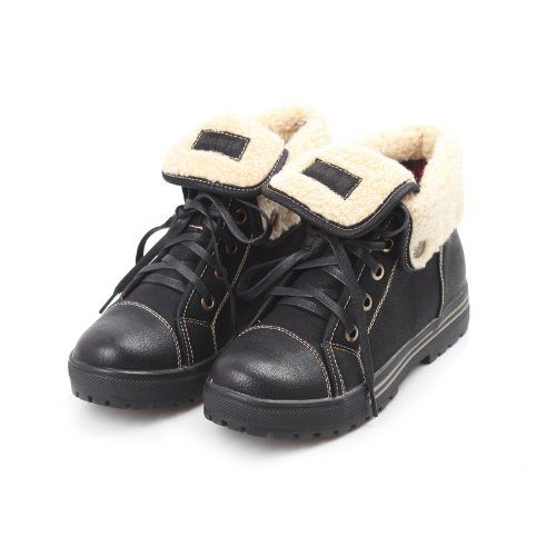 Awesome Reneeze AMBER-03 Women Lace-Up Mid-Top Sneakers Bootie - Black