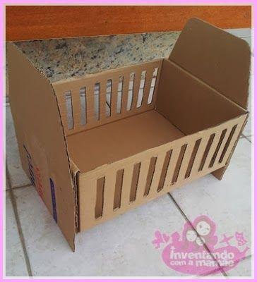 Berço para boneca reutilizando caixa de papelão: