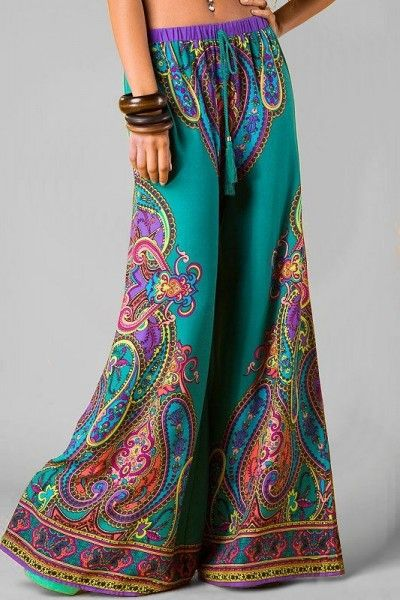Wow the paisley design and use of multi colours of these wide leg trousers!