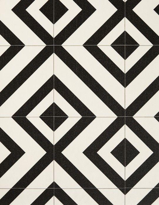 Sol vinyle BUBBLEGUM, carreau ciment motif géométrique noir, rouleau 2 m | Saint Maclou