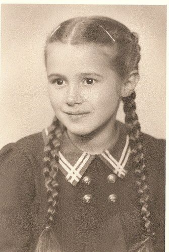1940s girl with pigtails