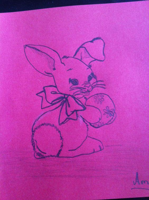 Söt liten målad kanin
