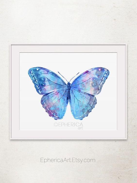 Blue butterfly wall decor : Blue butterfly wall art print