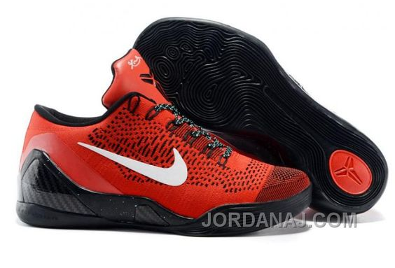Air Zoom Kobe IX 9 EM Black White Red Low-Cut Basketball Training Shoes |  fashion style | Pinterest | Black white red