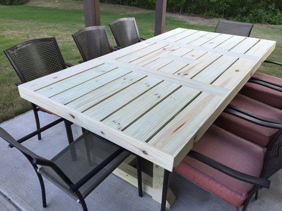 Build your own rustic patio table using a few simple for Build your own patio table