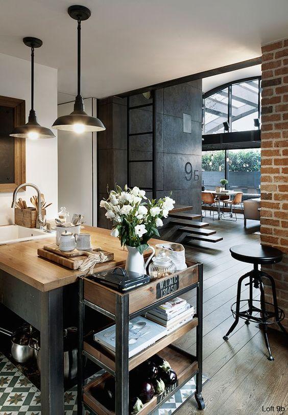 Esprit loft avec murs de briques apparentes industriel - Cuisine style industriel loft ...