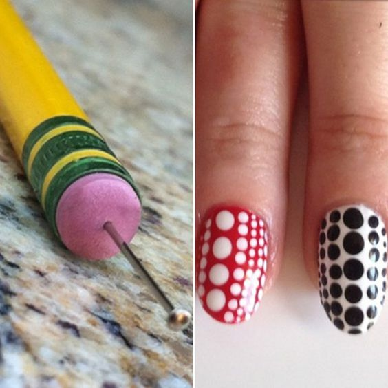 """Pencil Eraser & Sewing Pin As A Dotting Tool    This DIY nail art tool sparked an """"aha! moment."""" While we've seen dots duplicated with toothpicks and bobby pins, the eraser-and-sewing pin combo bloggers, including Madison created is incomparable."""