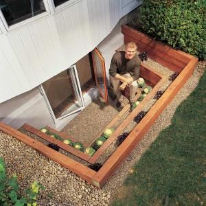 How to Install a Terraced Window Well in Your Basement -  Cool idea for our existing egress windows