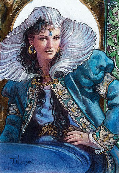 The Blue Ajah of the Aes Sedai normally involve themselves with righteous causes and justice. They have the most extensive eyes-and-ears network, and enjoy the prestige of having the highest number of Amyrlin Seats raised from their Ajah. The Blue has been at odds with the Red Ajah for a millennium, and for a time were separate from the White Tower altogether. The head of the Blue Ajah is called the First Selector.