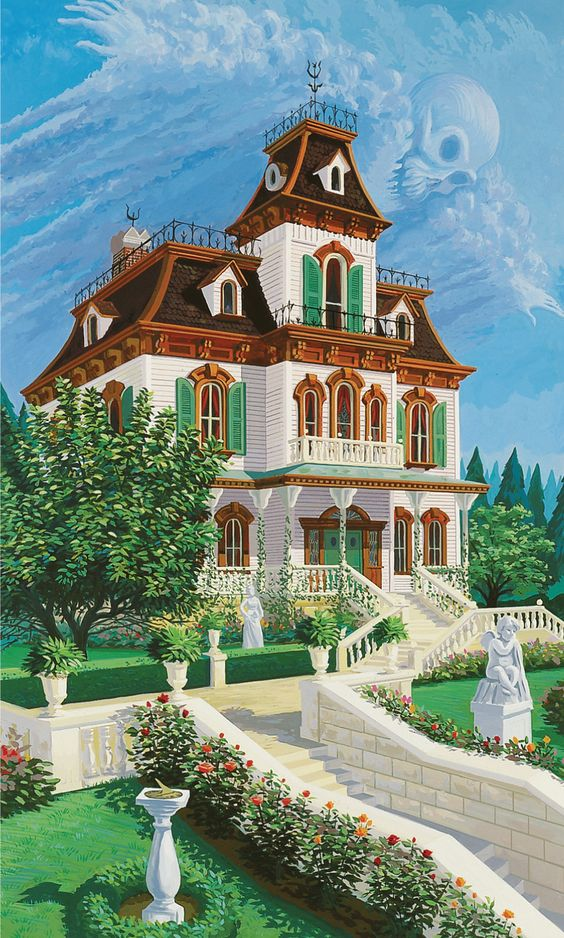 Julie Svendsen painting depicting what Phantom Manor would have looked like before it fell into ruin.