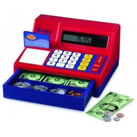 Students will think math time has turned into play time with the Pretend and Play Calculator Cash Register! A great addition to your math activities, the cash register features a working solar-powered calculator with big buttons that are perfect for little hands and includes actual-size pretend bills and plastic coins. $39.99