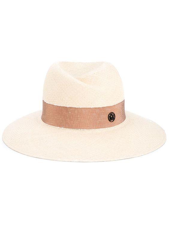 Maison Michel Virginie Straw Fedora Hat, Women's, Size: Medium, Nude/Neutrals, Cotton/Straw