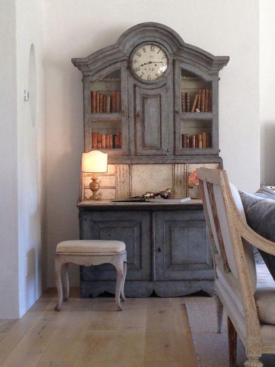 Antique Swedish secretary with clock in #PatinaFarm #modernfarmhouse living room #Swedishantiques