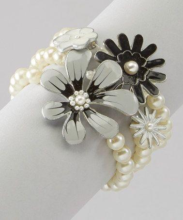 Look what I found on #zulily! Ivory Flower Stretch Bracelet Set #zulilyfinds