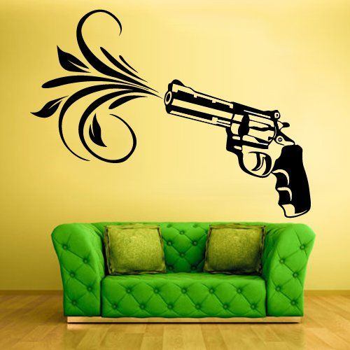 Wall Vinyl Sticker Decals Decor Art Bedroom Design Mural Flowers Modern Design Revolver Gun (Z558) StickersForLife http://www.amazon.com/dp/B00D42AEDE/ref=cm_sw_r_pi_dp_nKeevb0D4CC85