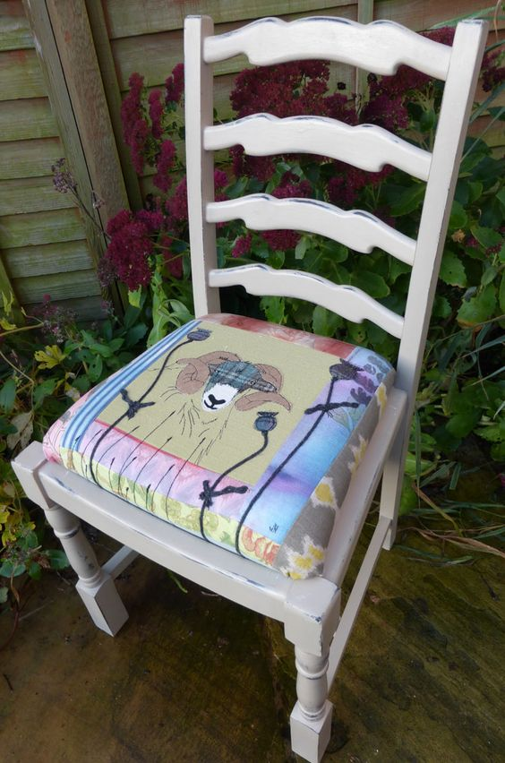 Ram chair seat embroidered, log cabin patchwork hand dyed fabrics appliquéd ram.