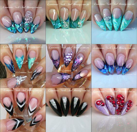 Glitter acryl nails