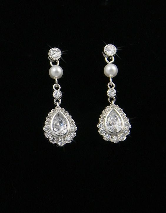 Vintage style Pearl Crystal Bridal Earrings, Swarovski Crystal wedding earrings Rhinestone  Bridesmaids Dainty Makayla Bridal Earrings. $30.00 USD, via Etsy.  From CrystalAvenues