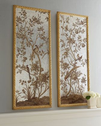 framed chinoiserie wallpaper panels from horchow Digital